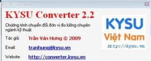 Download KYSU Converter-Chương trình chuyển đổi đơn vị chuyên ngành kỹ thuật